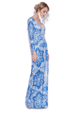 Maxi dress with sequins and blue print