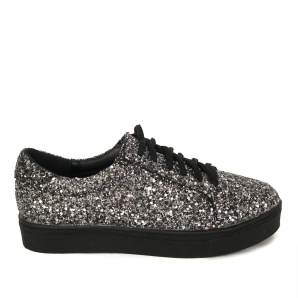 Pantofi argintii cu glitter