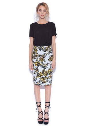 Casual pencil skirt with floral print