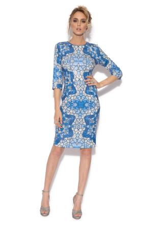 Evening dress with geometric print