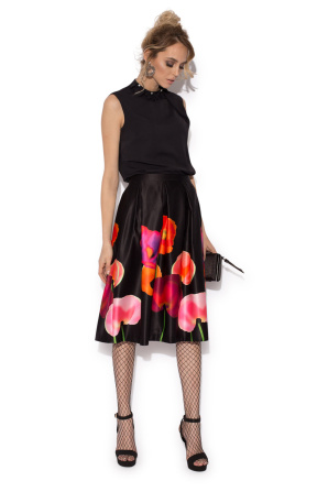 Poppies print flared silky skirt