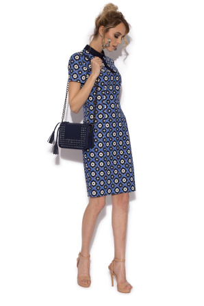 Casual pencil dress with retro print