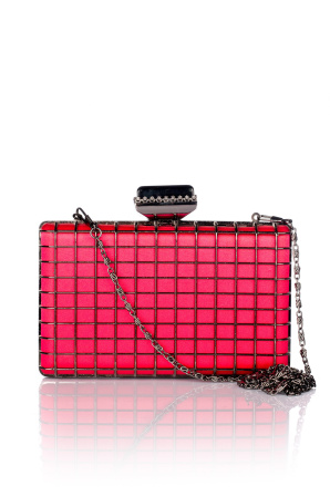 Fuchsia Clutch embellished with metallic grill