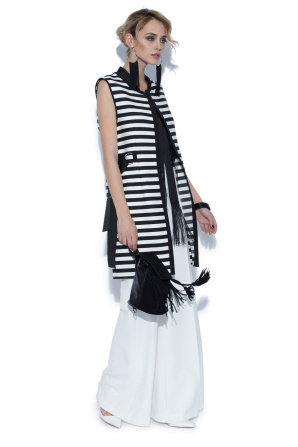 Long vest with contrasting stripes