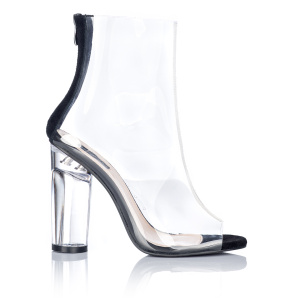 Transparent ankle boots cut in front