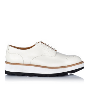 Platform brogues in white leather
