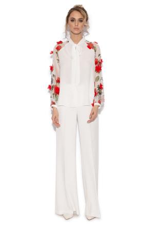 White 3D details floral top