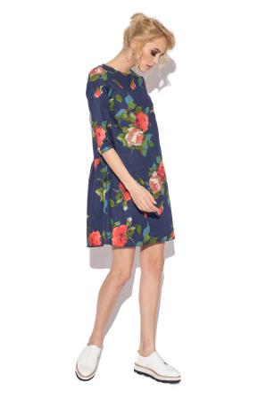 Rose print casual dress