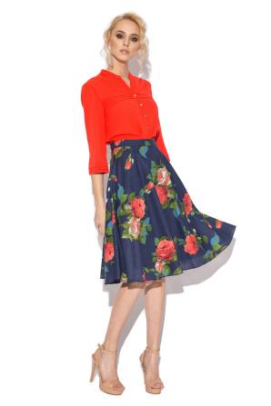Roses print flared skirt