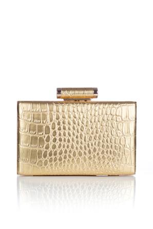 Metallic crocodile gold clutch