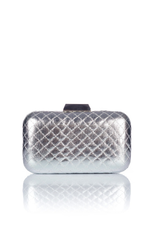Quilted silver eco leather clutch
