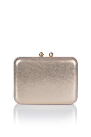 Fabric gold box clutch