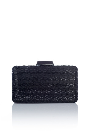 Black crystal glass clutch
