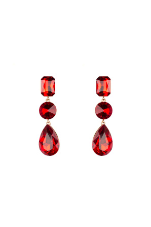Ruby crystal glass drop earrings