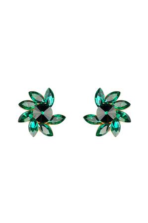 Emerald glass fan earrings