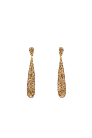 Golden drop crystal earrings