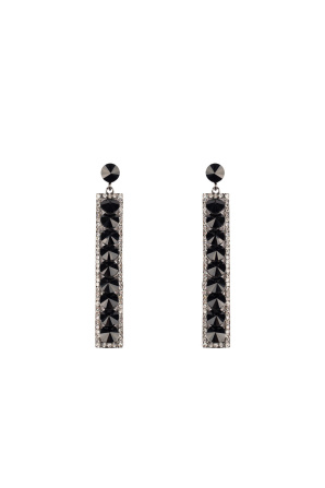 Straight crystal glass earrings