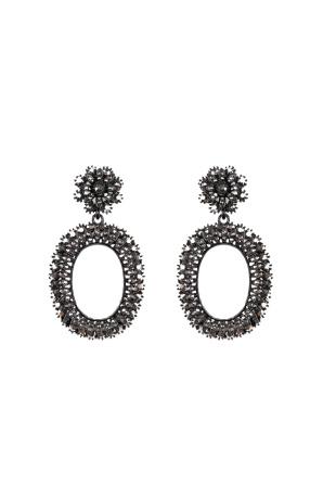 Gunmetal oval earrings