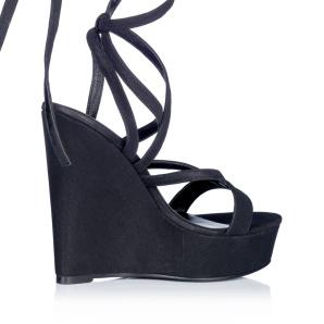Black tie up platform sandals
