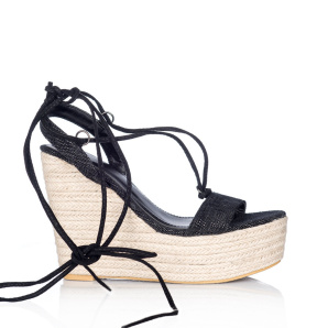 Black woven wedge sandals