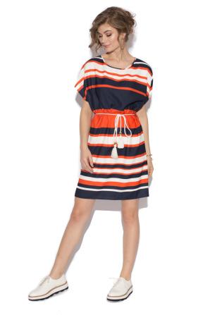 Striped short dress with belt