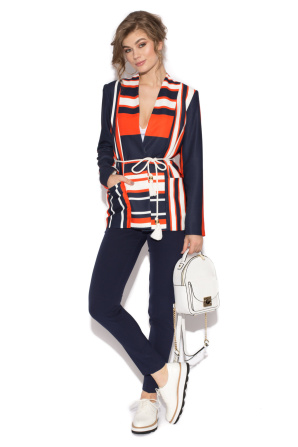 Striped jacket with belt
