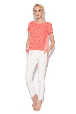 Ghipura top with salmon lace