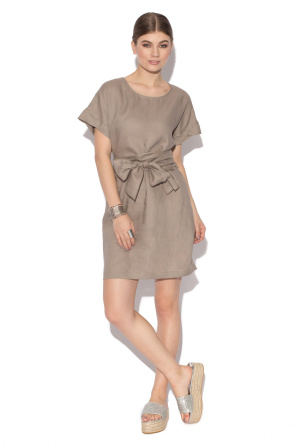 Linen day dress with bow detail