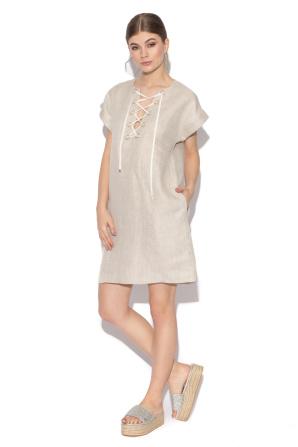 Linen day dress with criss-cross detail