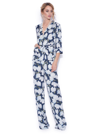 Wide leg pants with floral print