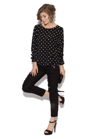 Polka dot top with sleeve bow