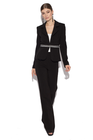 Black office jacket with waist detail