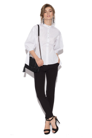 White linen shirt with bow detail