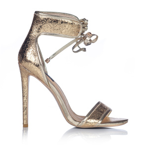 Laced gold texture sandals