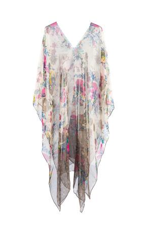 Multicolored silk poncho