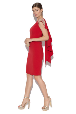 Red midi dress with cape