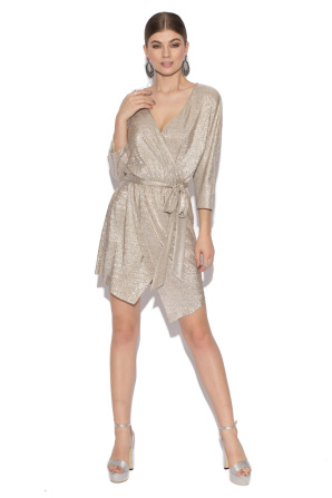 Silver wrap evening dress
