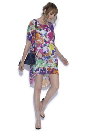 Floral printed asymmetrical dress