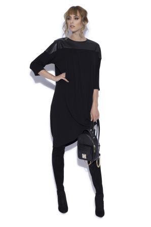 Asymmetric dress with faux leather details