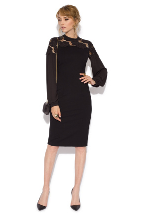 Embroided cocktail dress with puffed sleeves