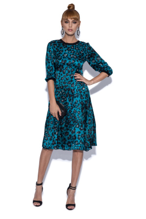 Midi silk dress with 3/4 sleeves