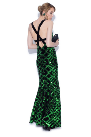 Long evening dress with sequins