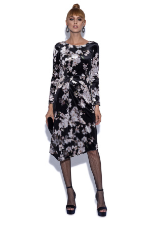 Asymmetrical dress with floral print