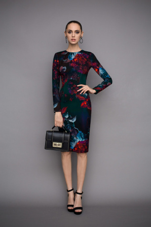 Pencil midi dress in floral print