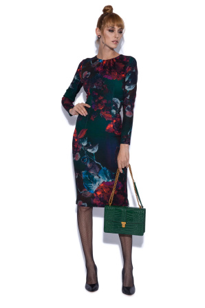 Pencil midi dress in floral print