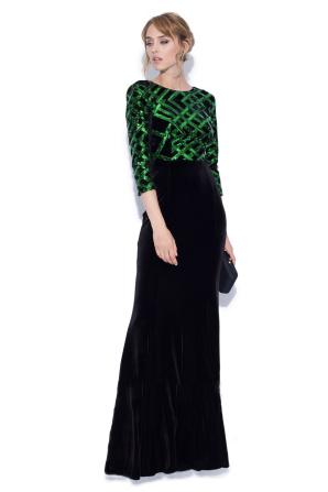 Long elegant dress made of velvet and sequins