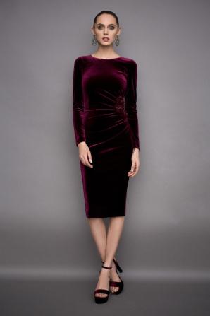 Rochie din catifea cu fronseu lateral