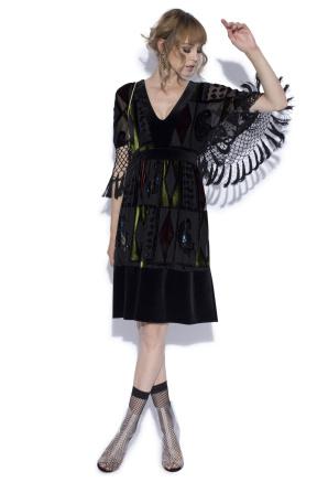 Midi dress with velvet geometric print