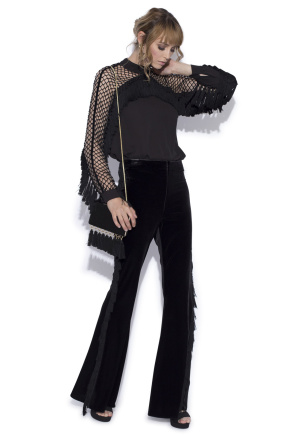 Flared trousers with side fringes
