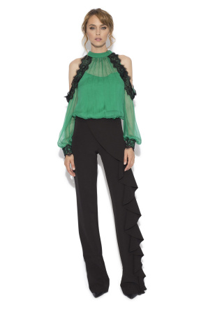Straight trousers with side ruffles